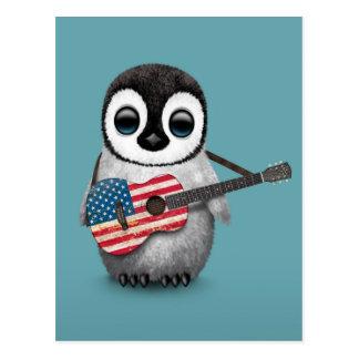 Pingüino del bebé que juega el azul de la guitarra tarjeta postal