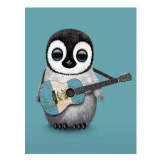 Pingüino del bebé que juega el azul guatemalteco tarjeta postal