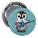 Pingüino del bebé que juega el azul islandés de la pin