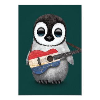 """Pingüino del bebé que juega el trullo holandés de invitación 3.5"""" x 5"""""""