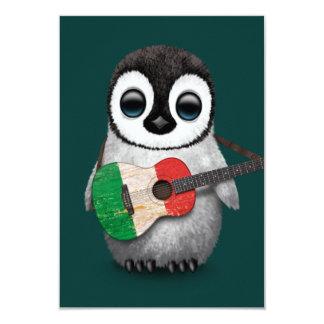 """Pingüino del bebé que juega el trullo italiano de invitación 3.5"""" x 5"""""""