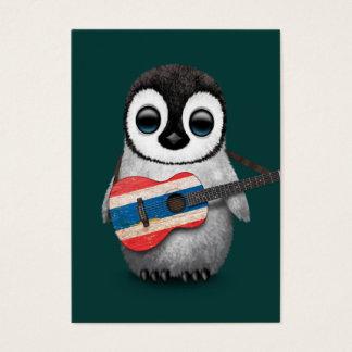 Pingüino del bebé que juega el trullo tailandés de tarjetas de visita grandes