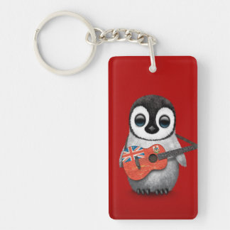 Pingüino del bebé que juega rojo de la guitarra de llavero rectangular acrílico a doble cara
