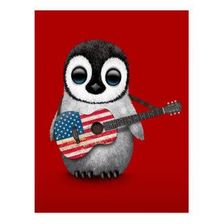 Pingüino del bebé que juega rojo de la guitarra de postal