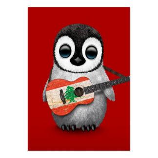 Pingüino del bebé que juega rojo libanés de la plantilla de tarjeta de visita