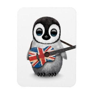 Pingüino del bebé que toca la guitarra británica imanes rectangulares