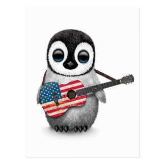 Pingüino del bebé que toca la guitarra de la tarjetas postales