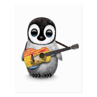 Pingüino del bebé que toca la guitarra de la postal