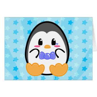 Pingüino del bebé - tarjeta del muchacho
