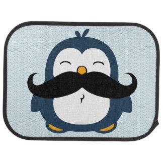 Pingüino del bigote alfombrilla de auto