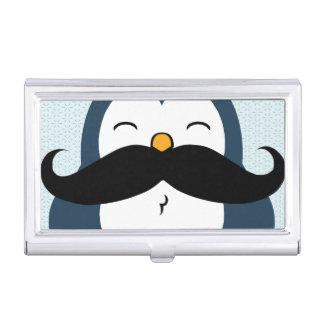 Pingüino del bigote cajas de tarjetas de negocios