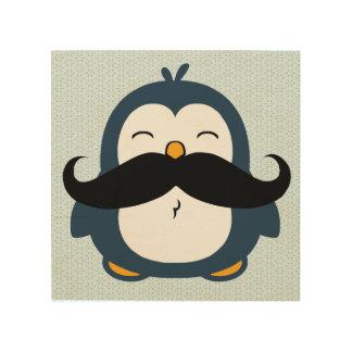 Pingüino del bigote cuadro de madera