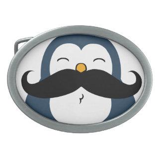Pingüino del bigote hebillas cinturon ovales