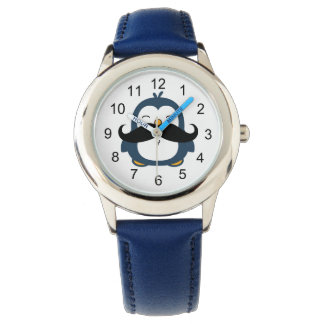 Pingüino del bigote relojes de pulsera