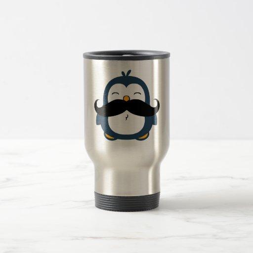Pingüino del bigote taza de viaje de acero inoxidable