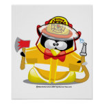 Pingüino del bombero posters