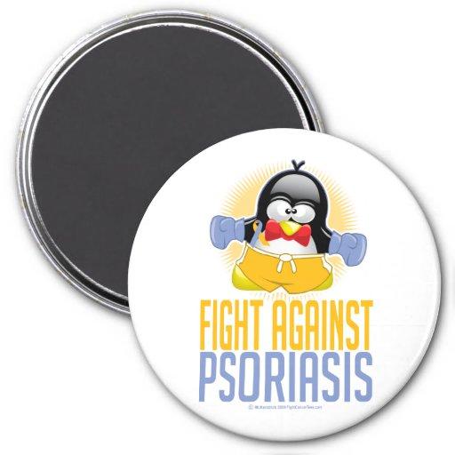 Pingüino del boxeo del psoriasis imán redondo 7 cm