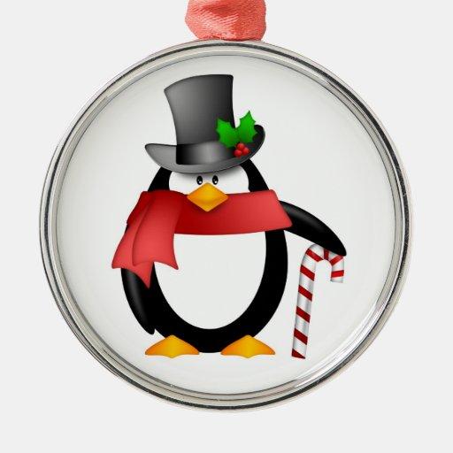 Pingüino del caballero con el ornamento del bastón ornamentos para reyes magos