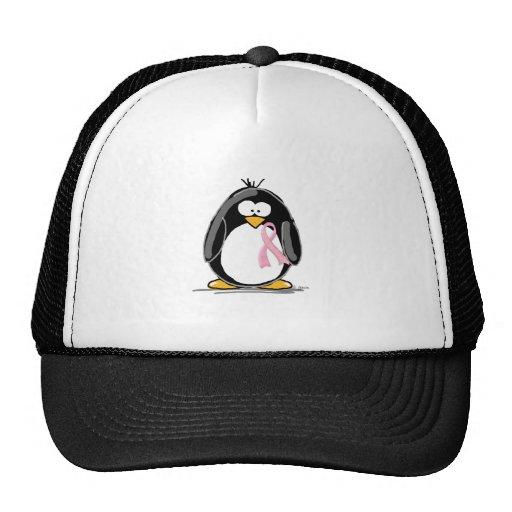 Pingüino del cáncer de pecho gorro de camionero