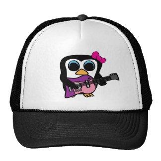Pingüino del chica con la guitarra eléctrica gorros bordados