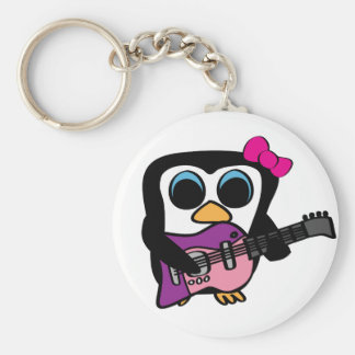 Pingüino del chica con la guitarra eléctrica llavero personalizado