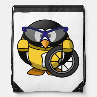Pingüino del ciclista en amarillo mochilas