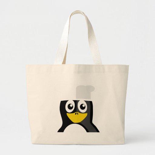 Pingüino del cocinero bolsa tela grande