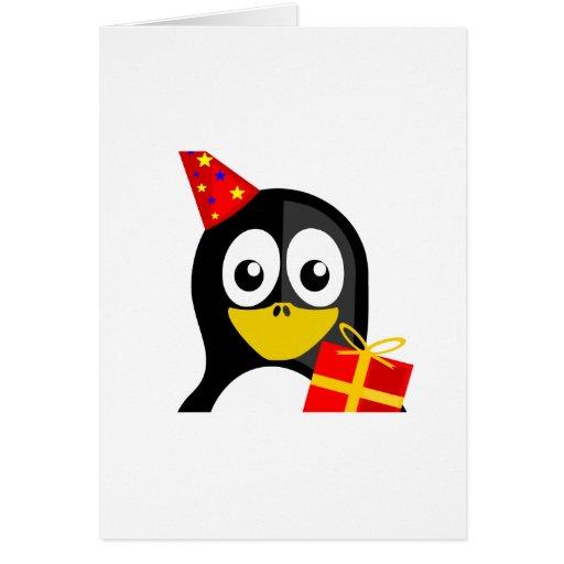 Pingüino del cumpleaños tarjeta de felicitación