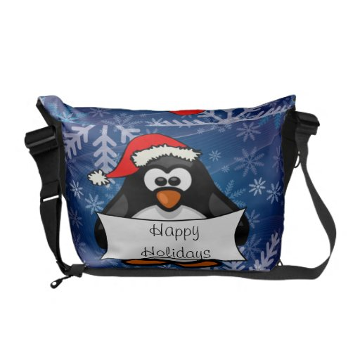 Pingüino del día de fiesta bolsa de mensajería