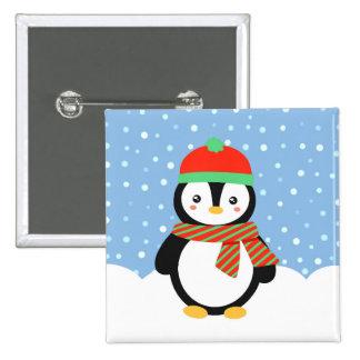 Pingüino del día de fiesta pin cuadrado