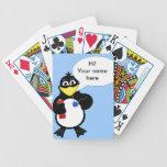 Pingüino del dibujo animado cartas de juego