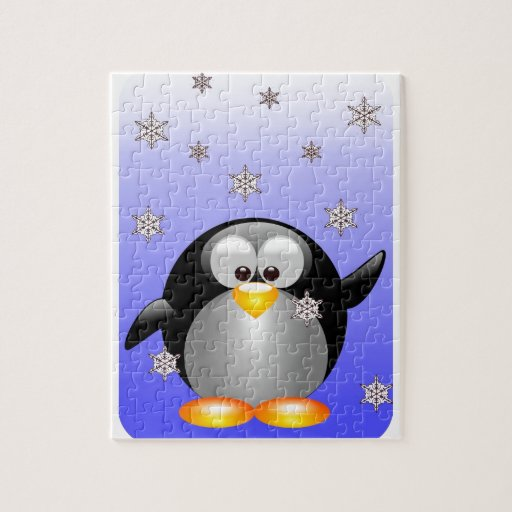 Pingüino del dibujo animado con los copos de nieve puzzle
