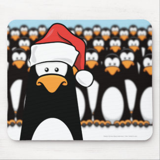 Pingüino del dibujo animado en el navidad Mousepad Tapete De Raton