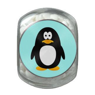 Pingüino del dibujo animado frascos de cristal