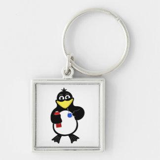 Pingüino del dibujo animado llavero cuadrado plateado