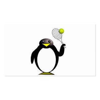 Pingüino del dibujo animado que juega a tenis tarjetas de visita