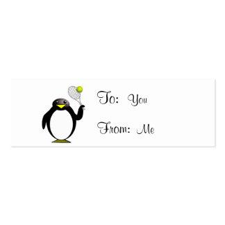 Pingüino del dibujo animado que juega a tenis plantillas de tarjetas personales
