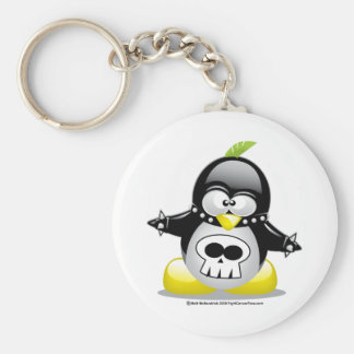 Pingüino del eje de balancín punky llavero redondo tipo pin