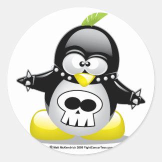 Pingüino del eje de balancín punky pegatinas redondas