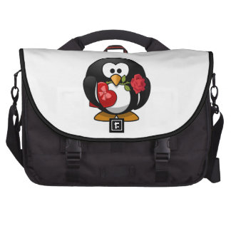 Pingüino del el día de San Valentín Bolsas De Portatil