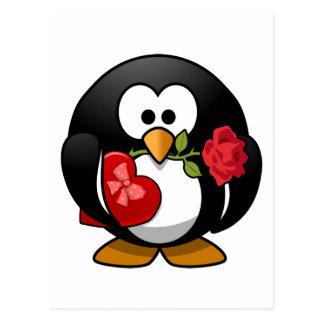 Pingüino del el día de San Valentín con la caja de Tarjeta Postal