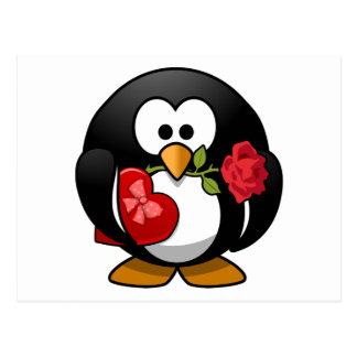 Pingüino del el día de San Valentín con la caja de Postales