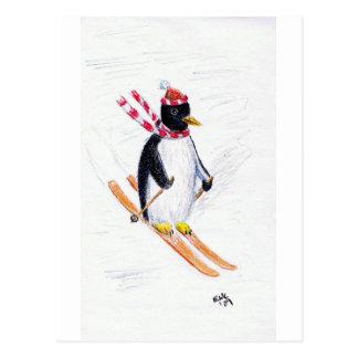 Pingüino del esquí postal