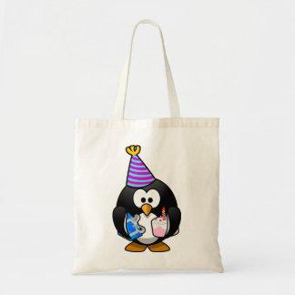 Pingüino del fiesta bolsa tela barata