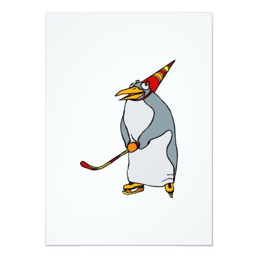 """Pingüino del fiesta del hockey invitación 5"""" x 7"""""""