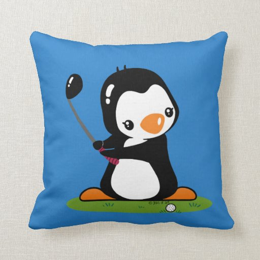Pingüino del golf almohadas
