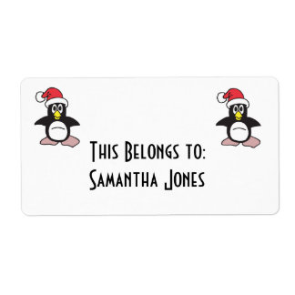 pingüino del gorra de santa etiqueta de envío