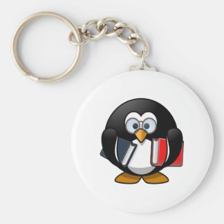 Pingüino del gusano de libro llavero personalizado