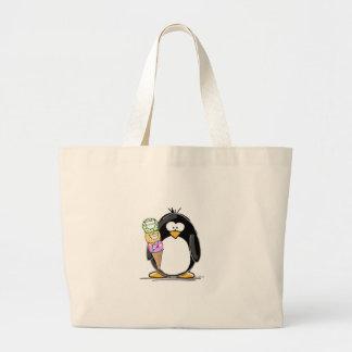 Pingüino del helado bolsa lienzo