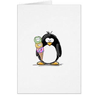 Pingüino del helado tarjetón